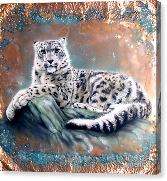 Copper Snow Leopard Canvas Print
