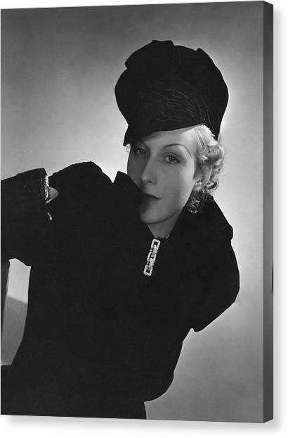 Cora Hemmet Wearing Reboux And Boucheron Canvas Print by Horst P. Horst