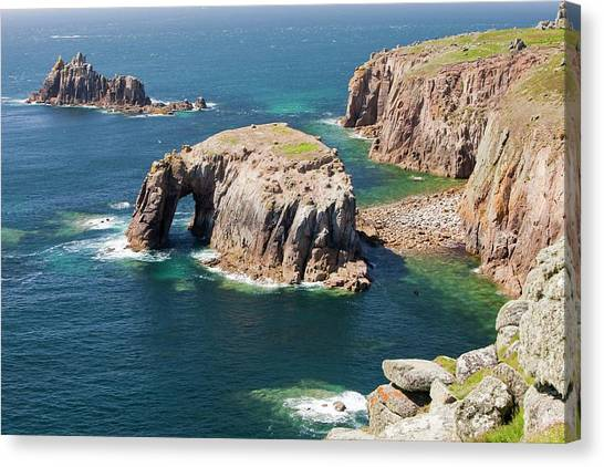 Ocean Cliffs Canvas Print - Cornish Coastal Scenery At Lands End by Ashley Cooper