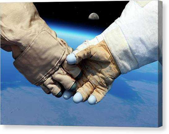 Astronauts Canvas Print - Cosmonaut And Astronaut Shaking Hands by Detlev Van Ravenswaay