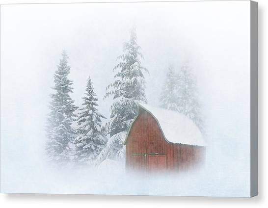 Red Barn In Winter Canvas Print - Country Winter-2 by Angie Vogel