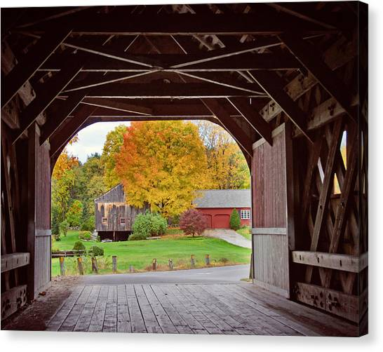Covered Bridge In Autumn Canvas Print