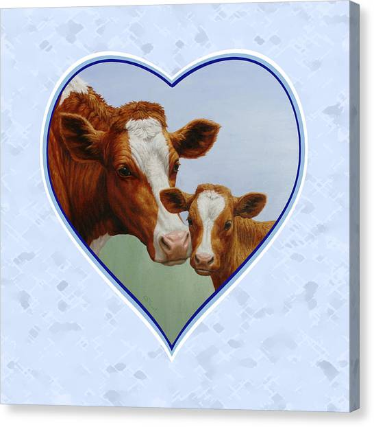 Brown Cow Canvas Print - Cow And Calf Blue Heart by Crista Forest
