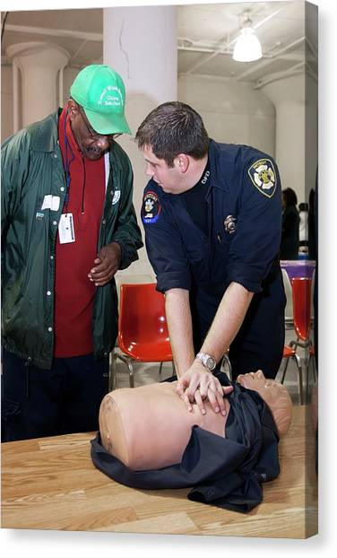 Dummies Canvas Print - Cpr Community Training by Jim West