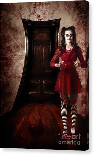 Haunted House Canvas Print - Creepy Woman With Bloody Scissors In Haunted House by Jorgo Photography - Wall Art Gallery