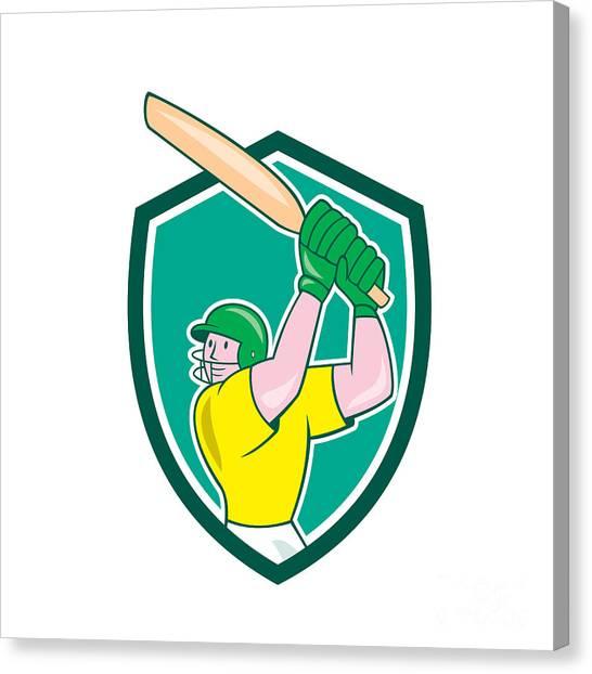 Cricket Players Canvas Print - Cricket Player Batsman Batting Shield Cartoon by Aloysius Patrimonio
