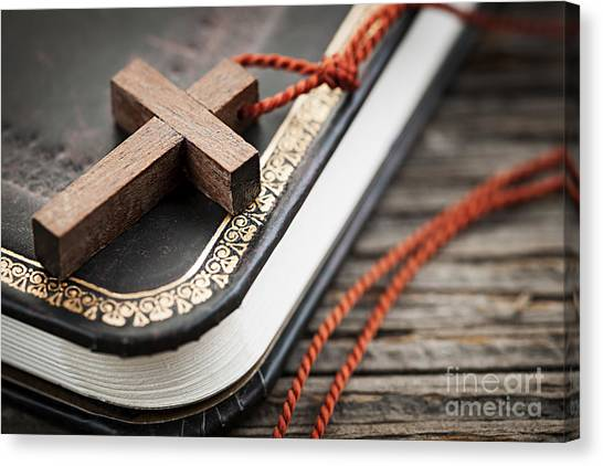 Religious Canvas Print - Cross On Bible by Elena Elisseeva