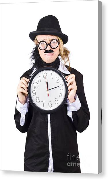 Anxious Canvas Print - Crying Woman In Disguise Holding Clock by Jorgo Photography - Wall Art Gallery