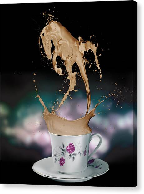 Funny Horses Canvas Print - Cup Of Coffee by Kate Black