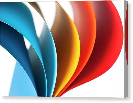Curves Of Colored Papers On White Canvas Print by Colormos