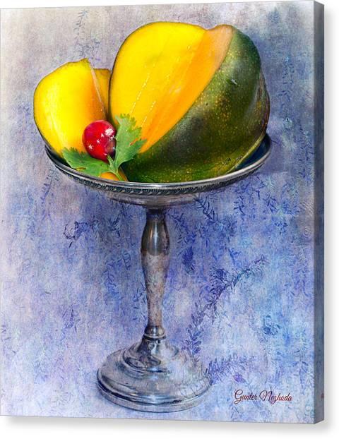 Cut Mango On Sterling Silver Dish Canvas Print