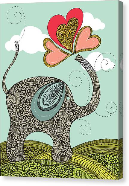 Elephants Canvas Print - Cute Elephant by Valentina Ramos