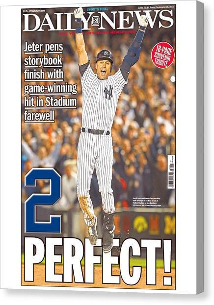 Daily News Front Page Wrap Derek Jeter Canvas Print by New York Daily News