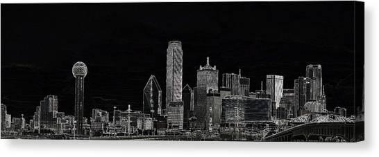 Dallas Skyline In Black Canvas Print