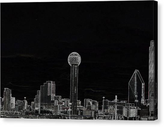 Dallas Skyline In Black- West Canvas Print