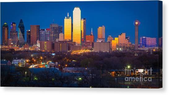 Dallas Stars Canvas Print - Dallas Skyline by Inge Johnsson