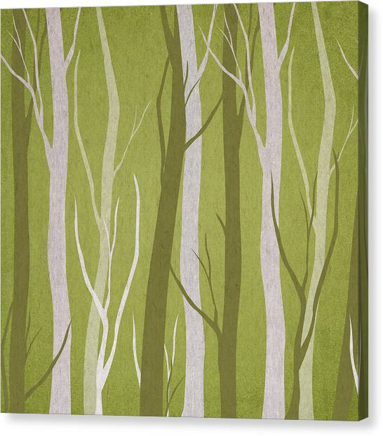 Tree Trunks Canvas Print - Dark Forest by Aged Pixel