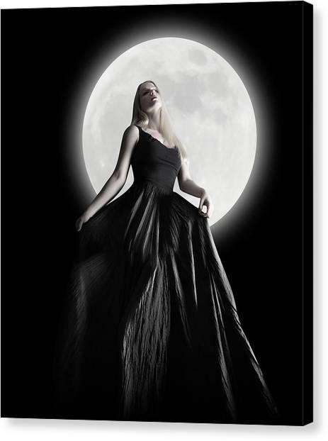 Dress Canvas Print - Dark Night Moon Girl With Black Dress by Angela Waye