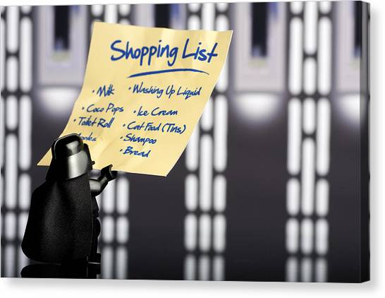Darth Vader Canvas Print - Darth's Shopping List by Samuel Whitton