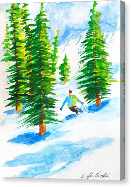 David Skiing The Trees  Canvas Print