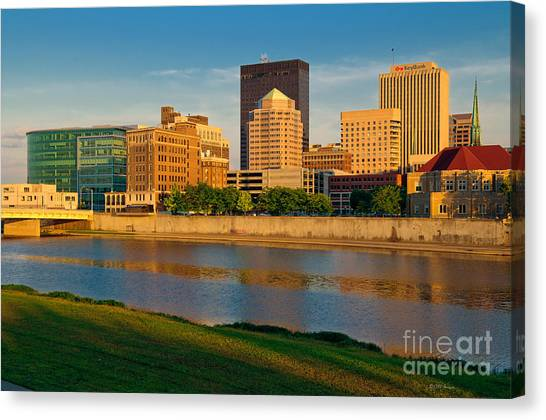 D4u-379 Dayton Skyline Photo Canvas Print