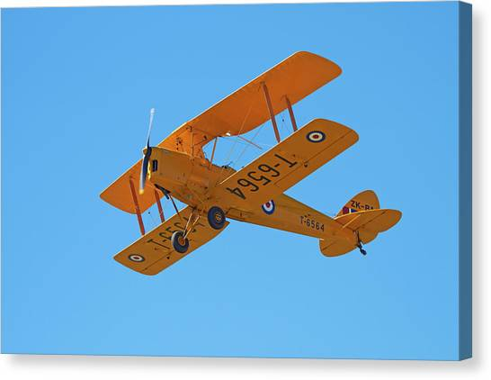 Biplane Canvas Print - De Havilland Dh 82a Tiger Moth Biplane by David Wall