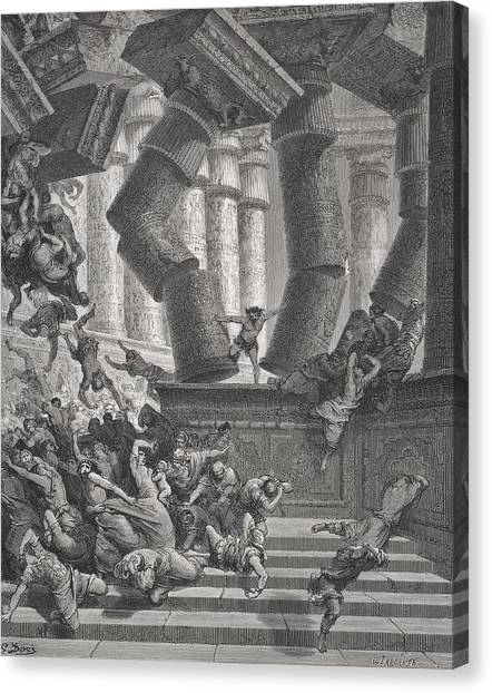Holy Bible Canvas Print - Death Of Samson by Gustave Dore
