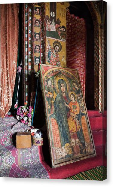 Debre Berhan Selassie Church In Gonder Canvas Print by Martin Zwick