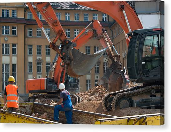 Jackhammers Canvas Print - Demolition Vehicles At Work by Frank Gaertner