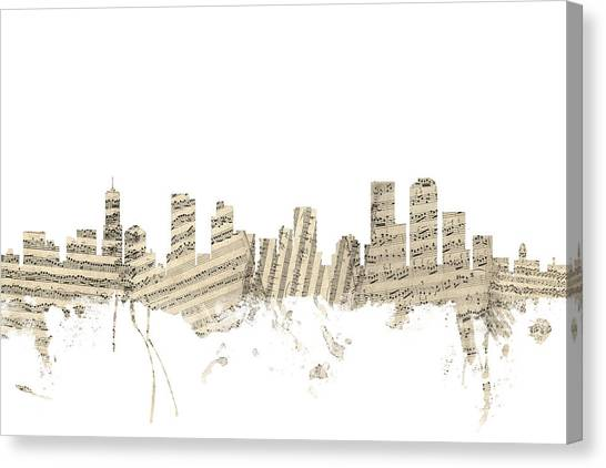 Denver Canvas Print - Denver Colorado Skyline Sheet Music Cityscape by Michael Tompsett