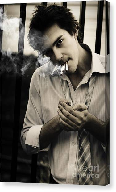 Worried Canvas Print - Depressed Business Man Smoking 3 Cigarettes by Jorgo Photography - Wall Art Gallery
