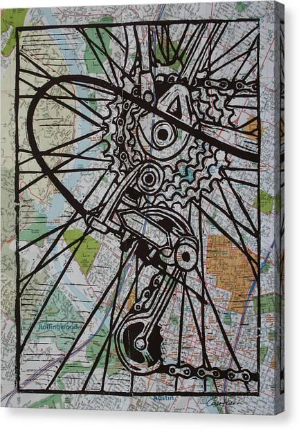 Derailluer On Map Canvas Print by William Cauthern