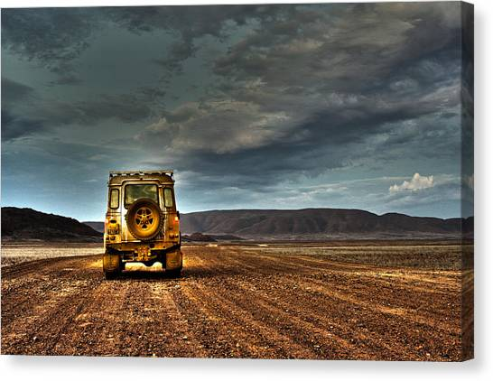 4x4 Canvas Print - Land Rover Defender On Dirt Road Dusk by Jan Van der Westhuizen
