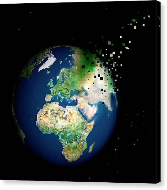 Pixelated Canvas Print - Destruction Of The Earth by Reporters/science Photo Library