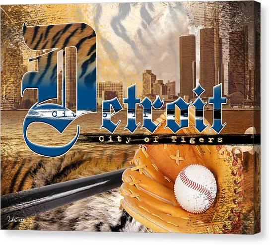 Detroit Tigers Canvas Print - Detroit City Of Tigers by Alena Priest