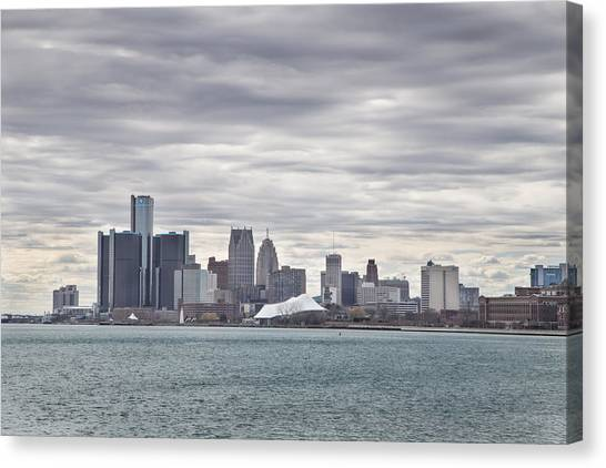 Detroit Skyline From Belle Isle Canvas Print