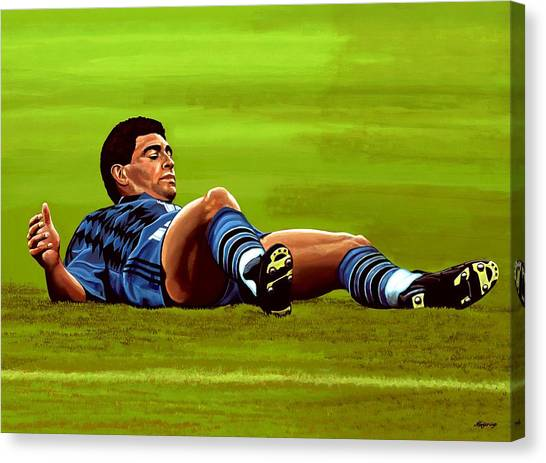 Goal Canvas Print - Diego Maradona 2 by Paul Meijering