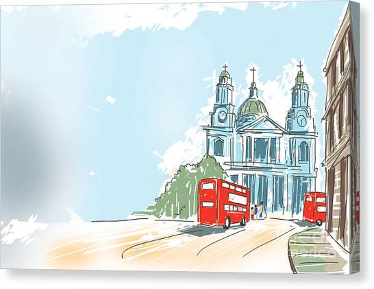 European City Canvas Print - Digital Illustration St Paul Cathedral London Uk by Jorgo Photography - Wall Art Gallery