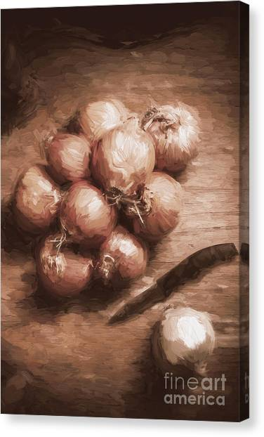 Ingredient Canvas Print - Digital Painting Of Brown Onions On Kitchen Table by Jorgo Photography - Wall Art Gallery
