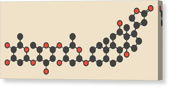Digoxin Heart Failure Drug Molecule Canvas Print by Molekuul