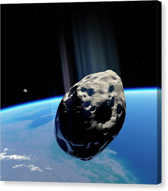 Approach Canvas Print - Dinosaur Extinction Asteroid by Detlev Van Ravenswaay