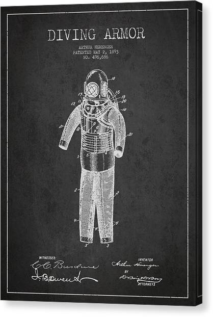 Scuba Diving Canvas Print - Diving Armor Patent Drawing From 1893 by Aged Pixel