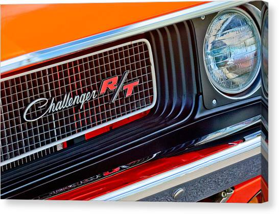 Dodge - Plymouth - Chrysler Automobiles Canvas Print - Dodge Challenger Rt Grille Emblem by Jill Reger