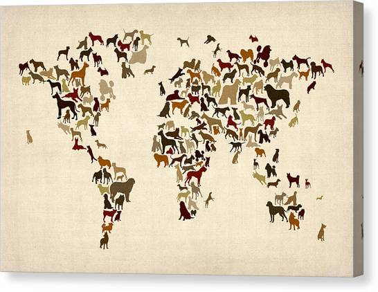 Dogs map of the world map digital art by michael tompsett dogs map of the world map canvas print by michael tompsett gumiabroncs Images