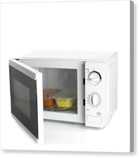 Oven Canvas Print - Domestic Microwave Oven by Science Photo Library