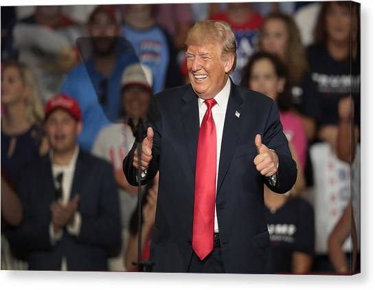 Donald Trump Holds Rally, Campaigns For Troy Balderson, In Ohio Canvas Print by Scott Olson