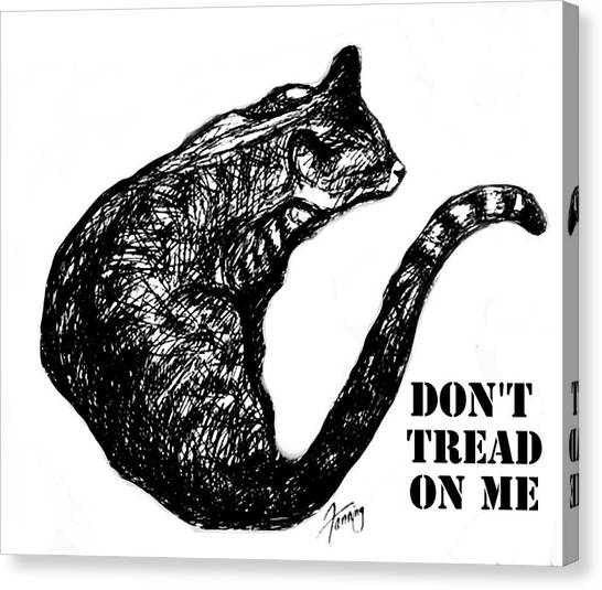 Libertarian Canvas Print - Don't Tread On Me Text by Mary Fanning
