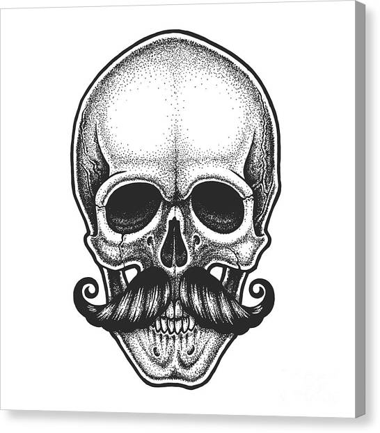 Rock Music Canvas Print - Dotwork Styled Skull With Moustache by Mr bachinsky