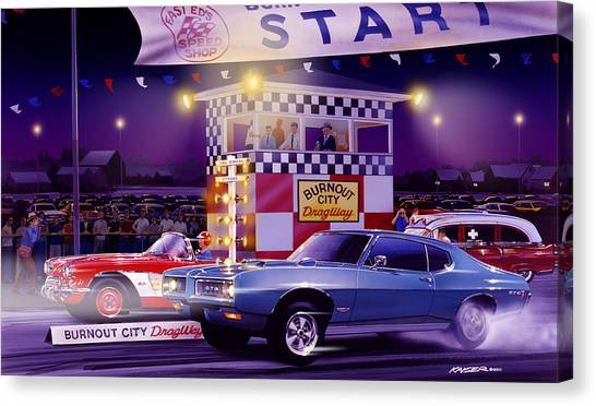 Finish Line Canvas Print - Drag City by Bruce Kaiser