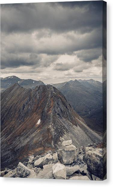 Dramatic Mountain Scenery In The Scottish Highlands Canvas Print by Leander Nardin